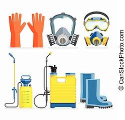 herramienta, Conjunto, plano, máscara, gas, Ilustración,...
