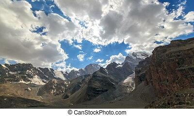 Mountain slopes and the lake. TimeLapse. Pamir, Tajikistan....