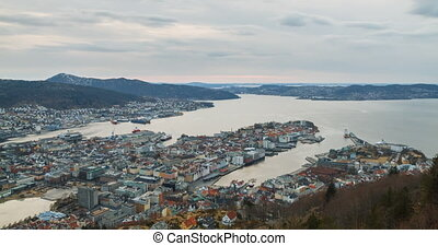 Sunset over the fjord of Bergen, Norway. Time Lapse