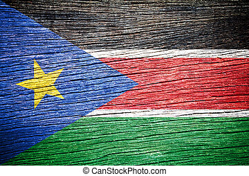 South Sudan flag painted on grunge wood background