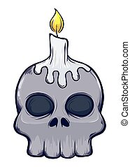 Skull With Candle On Top - Vector stock of scary skull with...