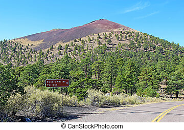 Sunset Crater volcano cinder cone near Flagstaff, Arizona -...