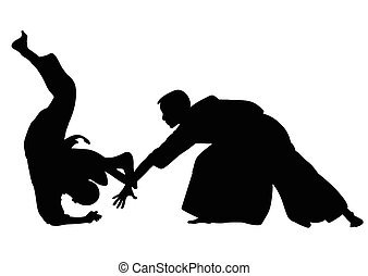 Silhouette of Aikido masters, leading the fight in training