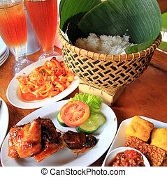 plates of Delicious fried food- local flavor