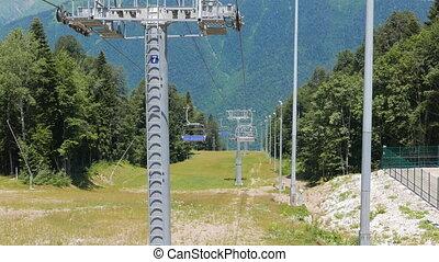 Chairlift above ski slope. Sochi, Russia. UltraHD (4K)