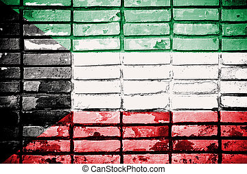 Kuwait flag painted on old brick wall