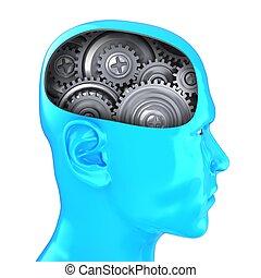 3d head with steel gear wheels - 3d illustration of steel...