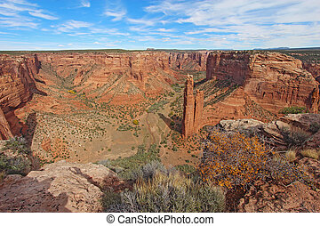 Spider Rock at Canyon de Chelly in Arizona - The red...