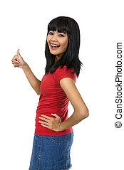 Woman Give Thumb - Asian woman give thumb wearing red shirt,...