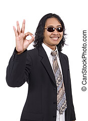 Long hair man in business suit give ok sign isolated on...