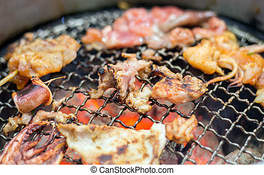 barbeque grill pork on hot net - close up barbeque grill...
