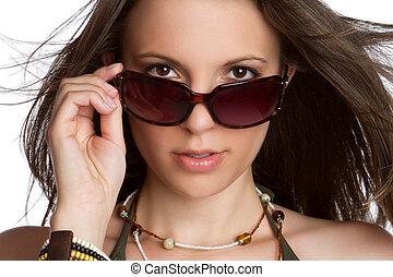 excitado, óculos de sol, mulher