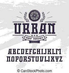 Rectangular serif font in urban style. Black font on light...
