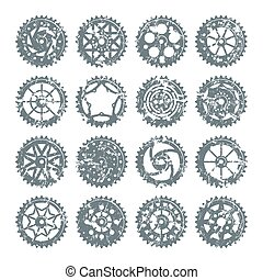 Set of icons bicycle chainring with shabby texture. Isolated...