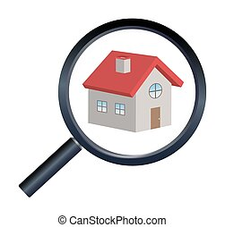 magnifying glass finding house