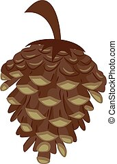 Pine Cone Icon - Vector Illustration of Pine Cone Icon