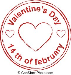 14th February Valentines Day. Red stamp imprint heart shape....