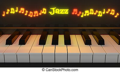 Jazz piano keyboard with glowing notes