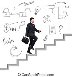 Businessman climbing the career stairs.