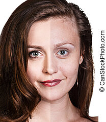 Comparative portrait of beautiful woman face - Comparative...