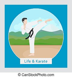 Life and karate illustration - Life and karate circle icon...