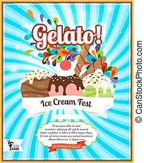 Ice cream fest poster - Ice cream fest colorful poster on...
