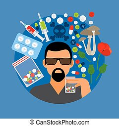 Drugs poster illustration - Drugs poster, man with pills on...
