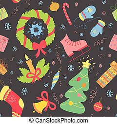 Seamless pattern with christmas elements. Vector New year background.