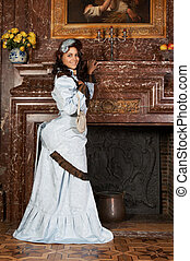 Bustle dress - Portrait of a beautiful young victorian lady...