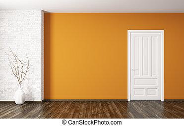 Interior of room with door 3d rendering