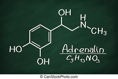 Structural model of Adrenalin on the blackboard.