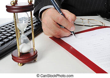 signature - Image of businessmans hand ready to make...
