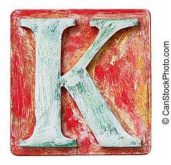Wooden alphabet letter K - Wooden alphabet block, letter K