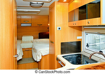 Recreation vehicle - Interior of kitchen and bedroom in...