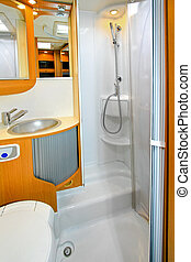 Camper shower - Interior of shower cabin in recreation...