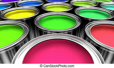 Paint cans 3D animation - 3D animated looping pan over the...