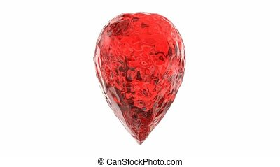 Ice heart 3D animation - Red ice heart rotation, 3D...