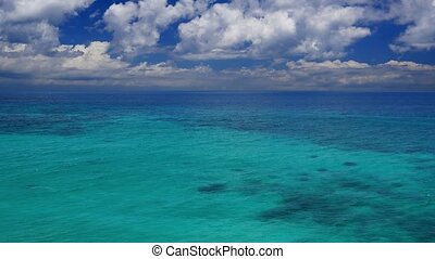 Peaceful view of the turquoise tropical lagoon - Aerial view...
