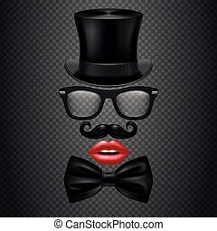 Mustache, bow tie, glasses, red girl lips and cylinder hat....