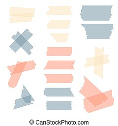 Colorful adhesive tape, masking pieces vector set - Colorful...