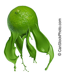 Green lime with paint splash