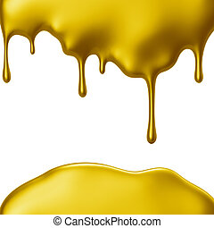 Yellow paint dripping isolated over white background