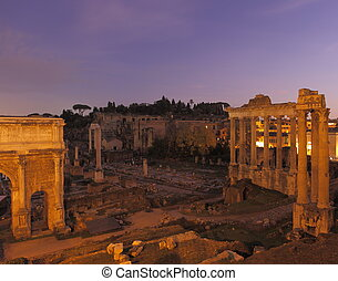 Forum Romanum - Ruins at Forum Romanum at night