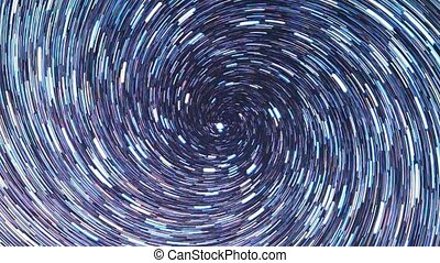 Stars draw a line in the sky. screw spiral. Zoom. Russia
