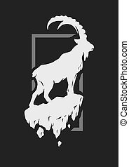 Silhouette of a mountain goat standing on a rock. Vector...