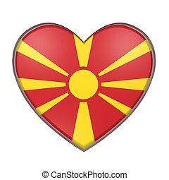 Macedonia heart - 3d rendering of a Macedonia flag on a...