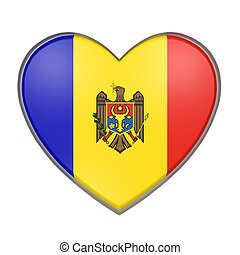 Moldova heart - 3d rendering of a Moldova flag on a heart....