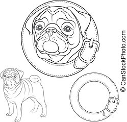 Vector set of pug images in the collar. Isolated objects.