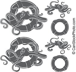 Set of illustrations with octopus in a life buoy.