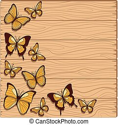Vector background with planks, butterflies studs.